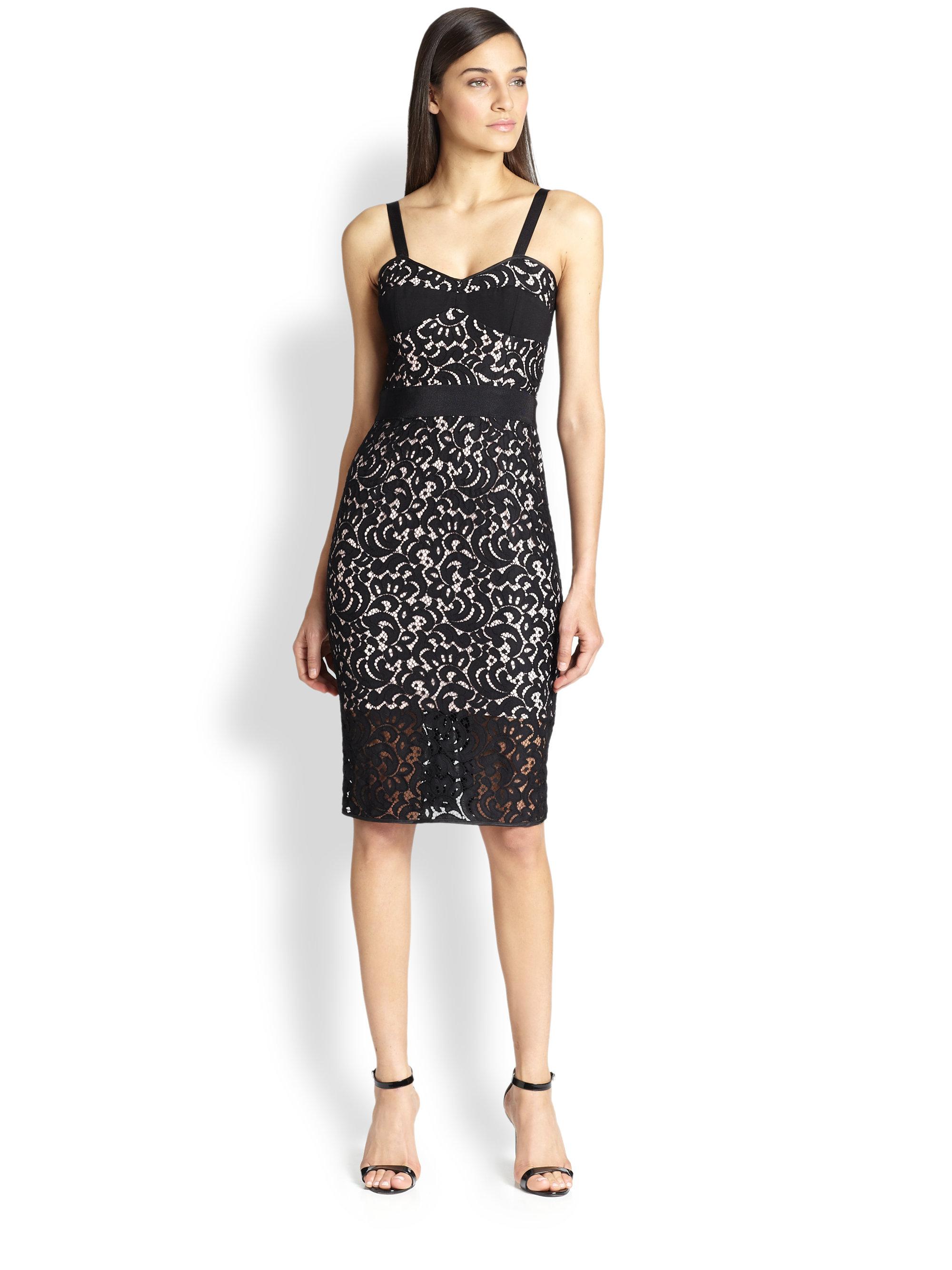 Lyst Milly Lace Bustier Dress In Black