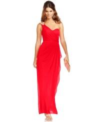 Xscape Petite Dress, Sleeveless One-Shoulder Jeweled Gown ...