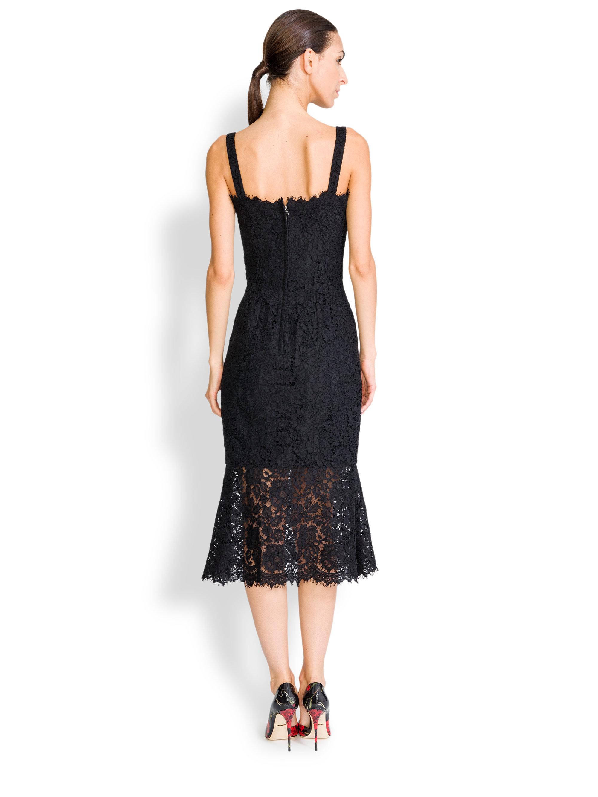 Lyst  Dolce  Gabbana Lace Corset Dress in Black