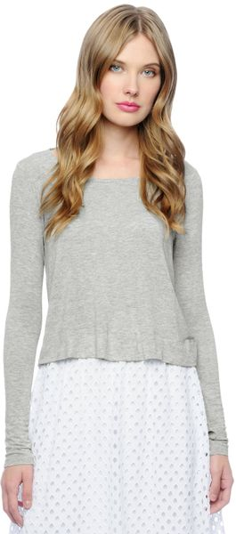Ella Moss Long Sleeve Cropped Top in Gray heather grey