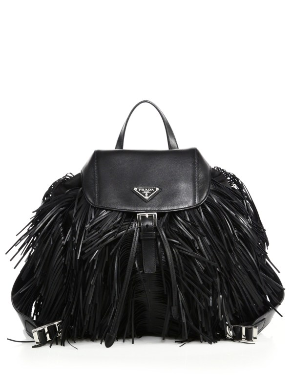 Prada Fringed Nylon & Leather Backpack In Black Lyst