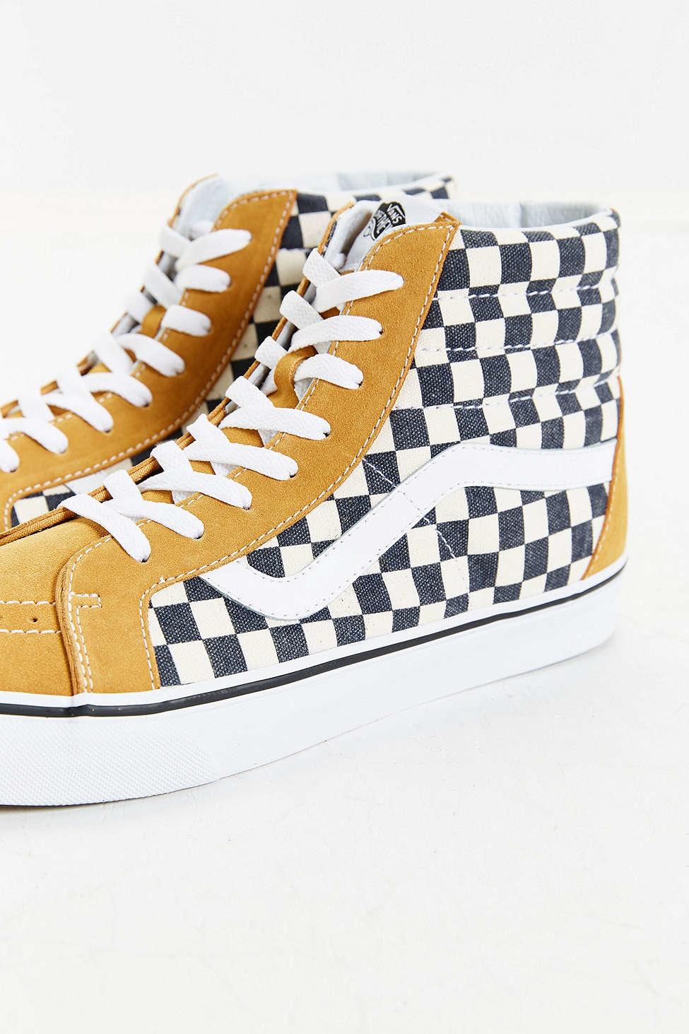 Lyst Vans Sk8 Hi Reissue Checked Sneaker In Yellow