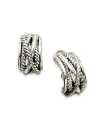 David Yurman Sterling Silver Cable Wrap Hoop Earrings in ...