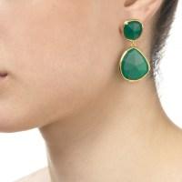 Lyst - Monica Vinader Siren Gold-plated Onyx Earrings in Green