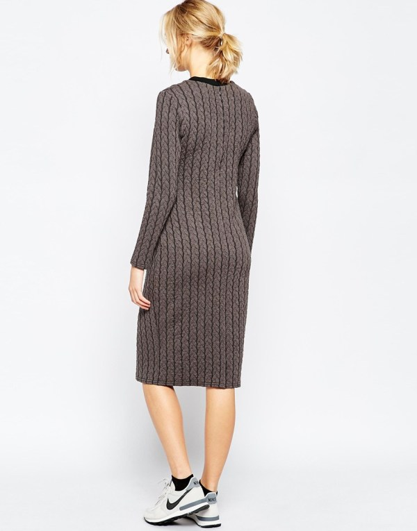 Lyst - Asos Plait Knit Bodycon Dress In Gray