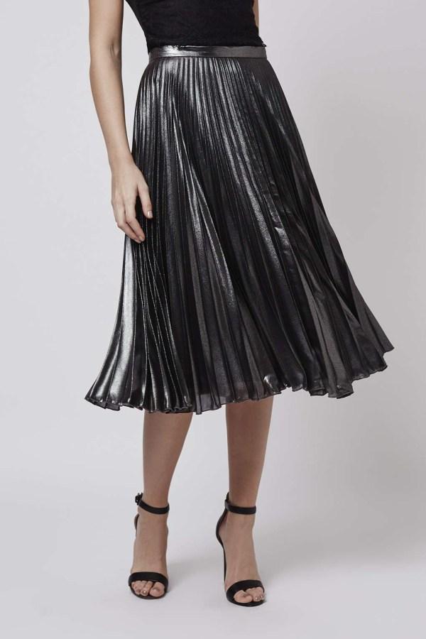 Topshop Tall Metallic Pleat Midi Skirt In - Lyst