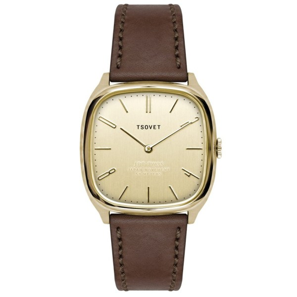 Tsovet Jpt-tw35 Brown Leather Gold Face Watch In
