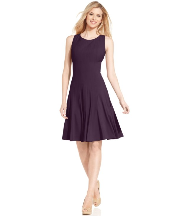 Lyst - Calvin Klein Sleeveless Pleated -line Dress In Purple