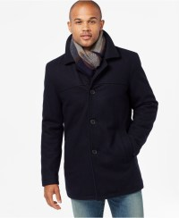 Lyst - Tommy Hilfiger Big & Tall Melton Peacoat With Scarf ...