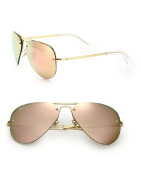 ray ban rose gold mirrored aviators