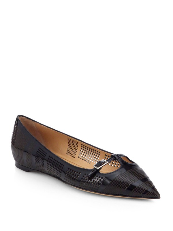 Ferragamo Patty Perforated Patent Leather Ballet Flats in