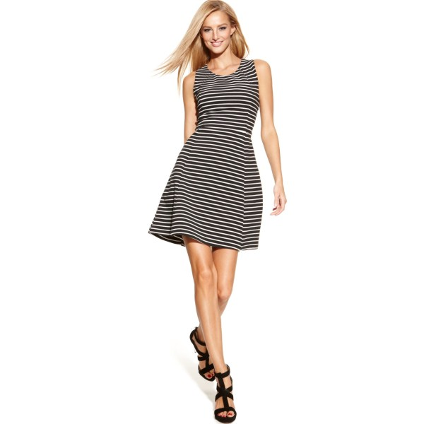 International Concepts Sleeveless Striped Aline Dress