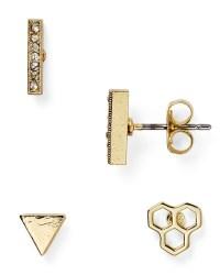 Aqua Suki Stud Earrings, Set Of 3 in Gold