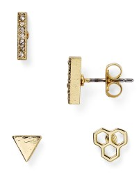 Aqua Suki Stud Earrings, Set Of 3 in Gold | Lyst