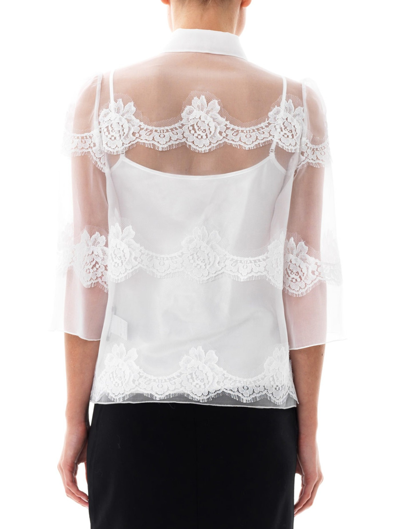 Lyst  Dolce  gabbana Lace And SilkOrganza Blouse in White