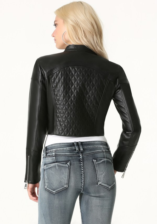 Bebe Faux Leather Crop Jacket In Black Lyst