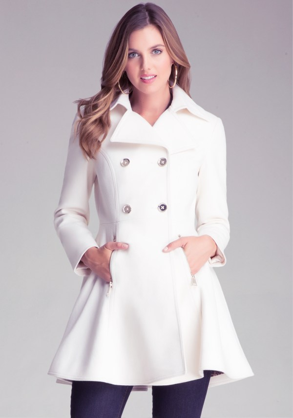 Lyst - Bebe Wool Flared Coat In White