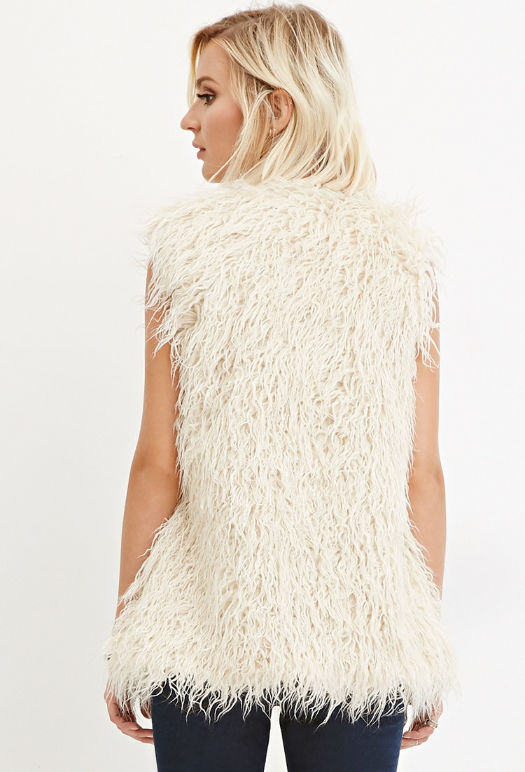 Forever 21 Shaggy Faux Fur Vest In Beige Cream Lyst