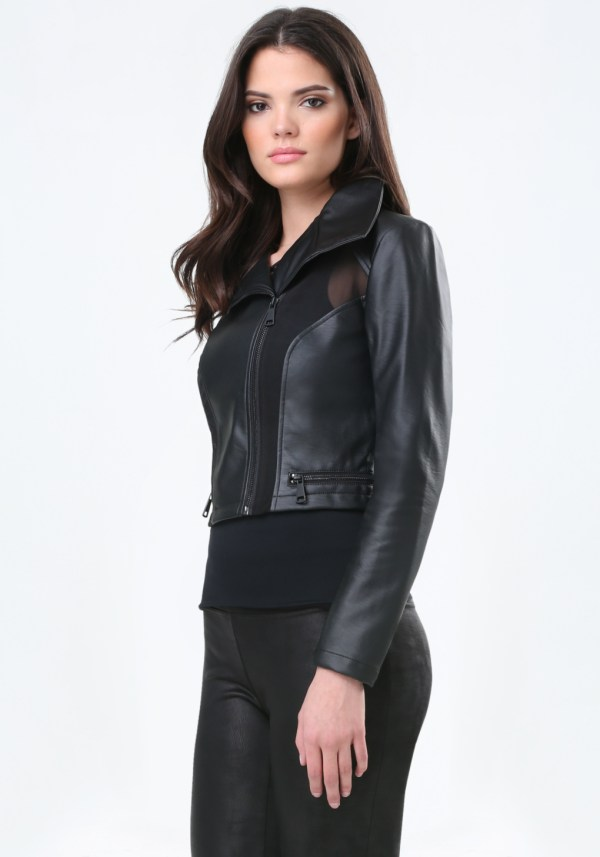 Bebe Faux Leather & Mesh Jacket In Black Lyst