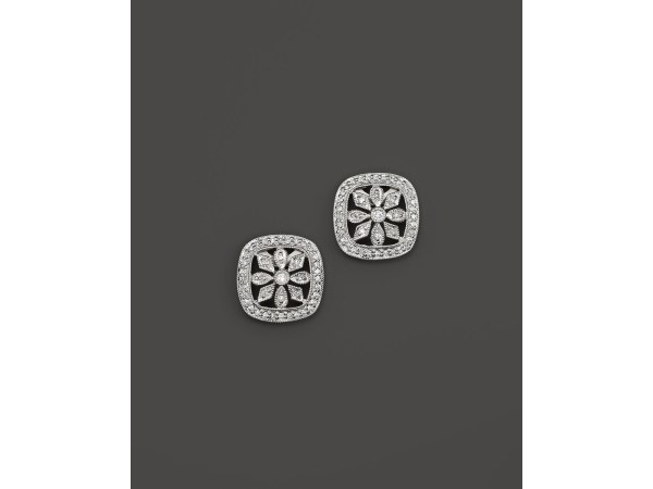 Kc Design Diamond Flower Stud Earrings In 14k White Gold
