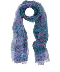 Lyst - Liberty Green Morris Flower Silk Chiffon Scarf in Green
