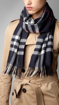 Lyst - Burberry Check Cashmere Scarf in Blue for Men