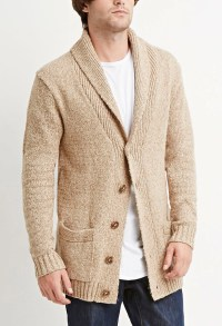 Mens Cream Shawl Collar Sweater