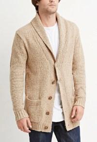 Mens Cream Shawl Collar Sweater