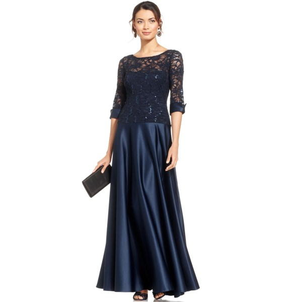 Js Collections Sequin Lace Illusion Gown In Blue Navy Lyst