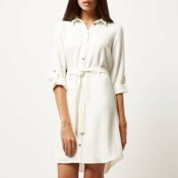 River island Cream Belted Shirt Dress in White | Lyst