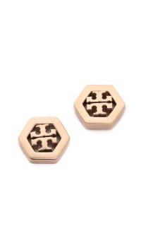 Lyst - Tory Burch Hex Logo Stud Earrings - Rose Gold in ...