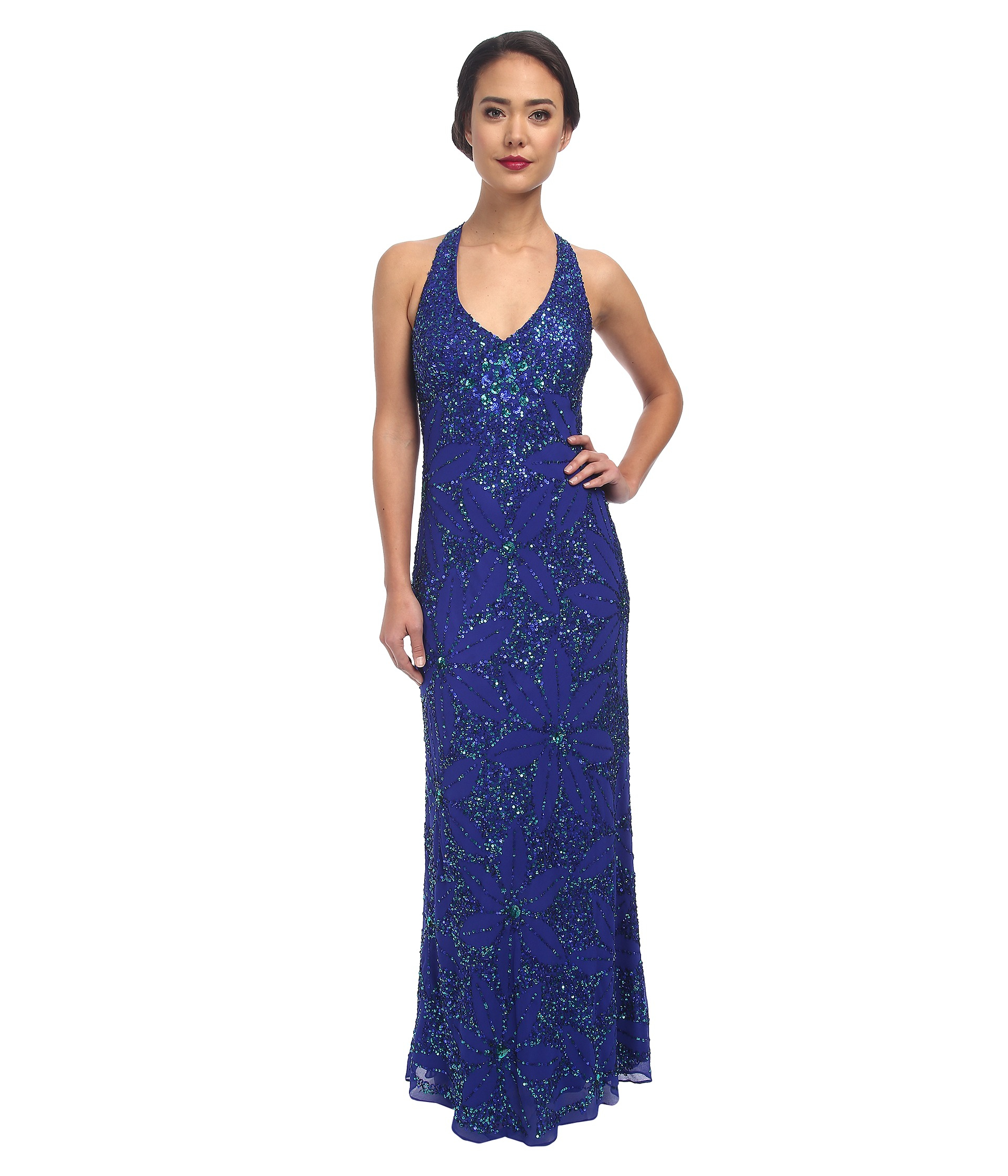 Adrianna papell Dream Girls Bead Prom Gown in Blue  Lyst
