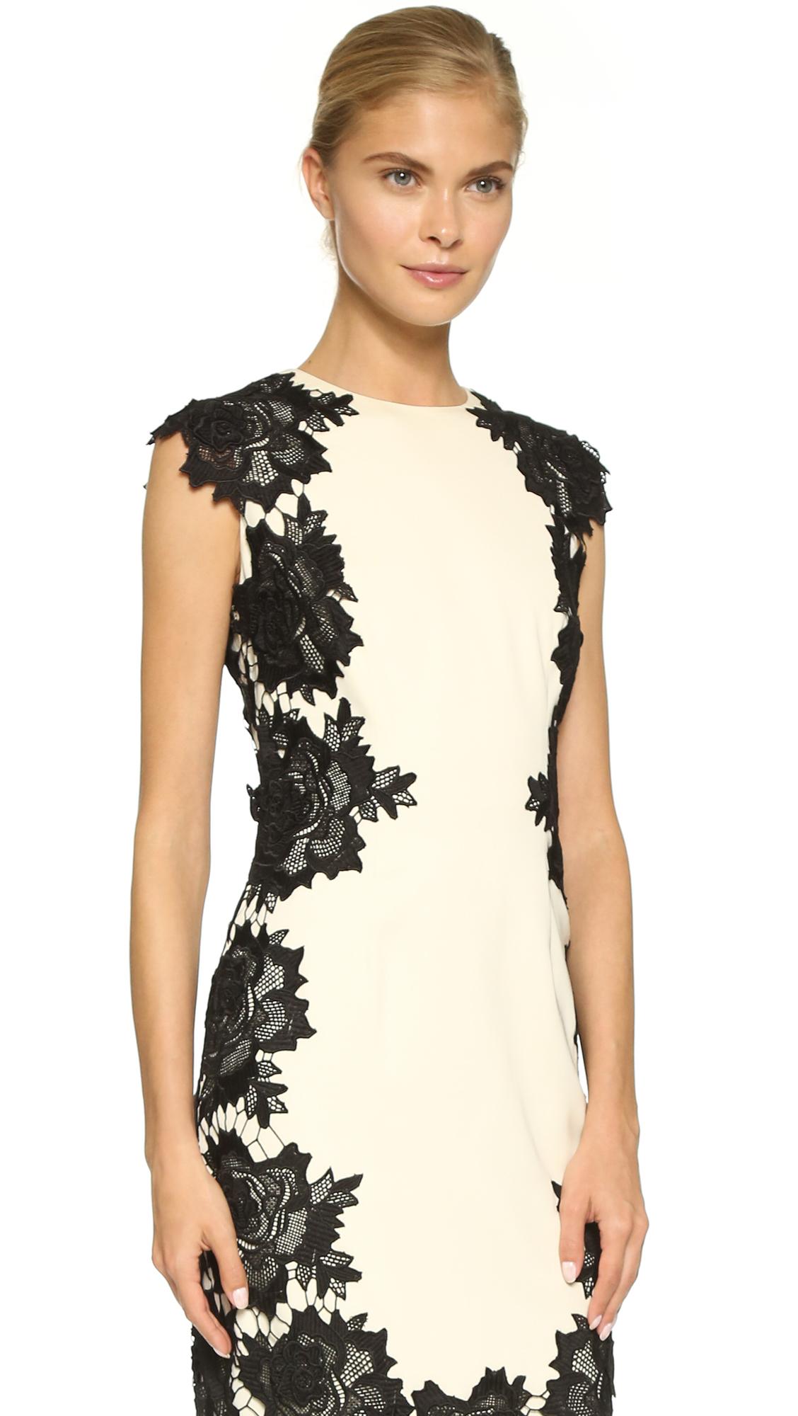 Lela rose Lace Sheath Dress  Ivoryblack in Black IvoryBlack  Lyst