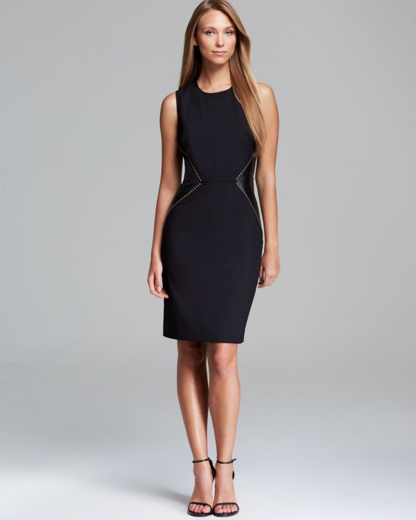 Lyst - Calvin Klein Dress Sleeveless Faux Leather Inset In