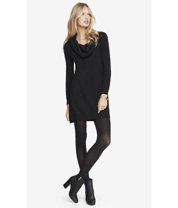 Lyst - Express Cowl Neck Sweater Dress Black