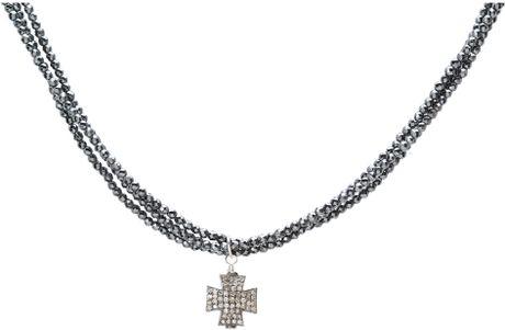 King Baby Studio Three Strand Hematite Necklace with Pavé