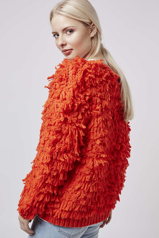 Lyst  Topshop Premium Bright Shaggy Cardigan in Red