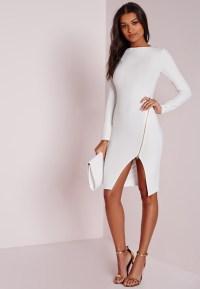 Missguided Long Sleeve Zip Detail Midi Dress White in ...