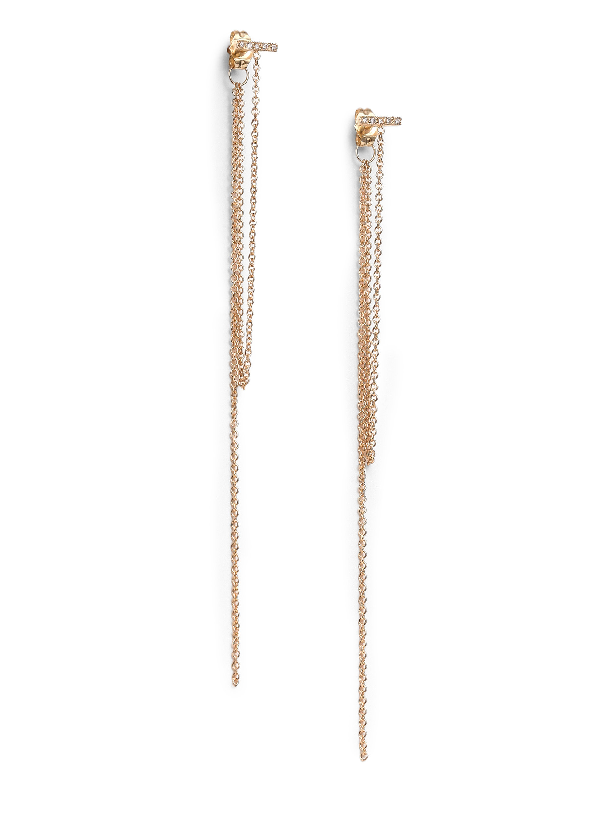 Zoe chicco Diamond & 14k Yellow Gold Bar Fringe Earrings