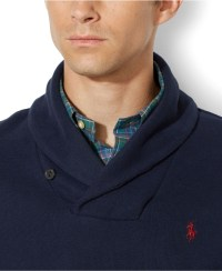 Polo ralph lauren French-Rib Shawl Sweater in Blue for Men ...