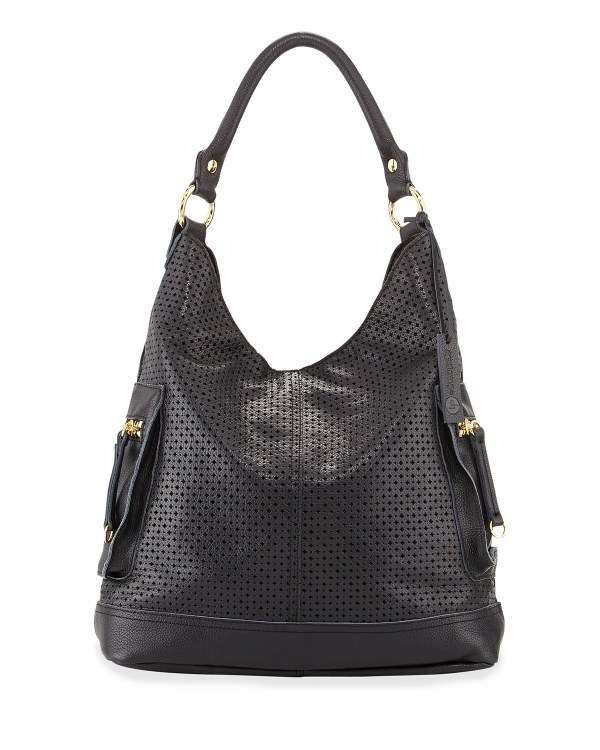 Linea Pelle Dylan Perforated Leather Hobo Bag In Black Lyst