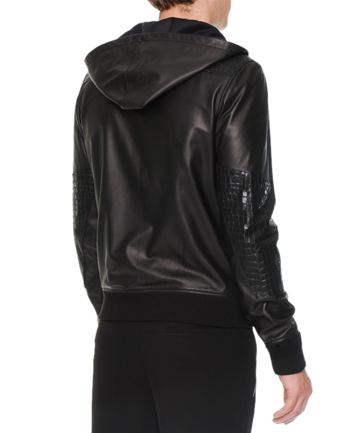 Alexander mcqueen Crocembossed Leather Hoodie in Black