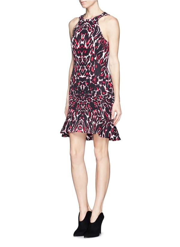 Lyst - Mcq Pixel Leopard Print Trumpet Dress In Red