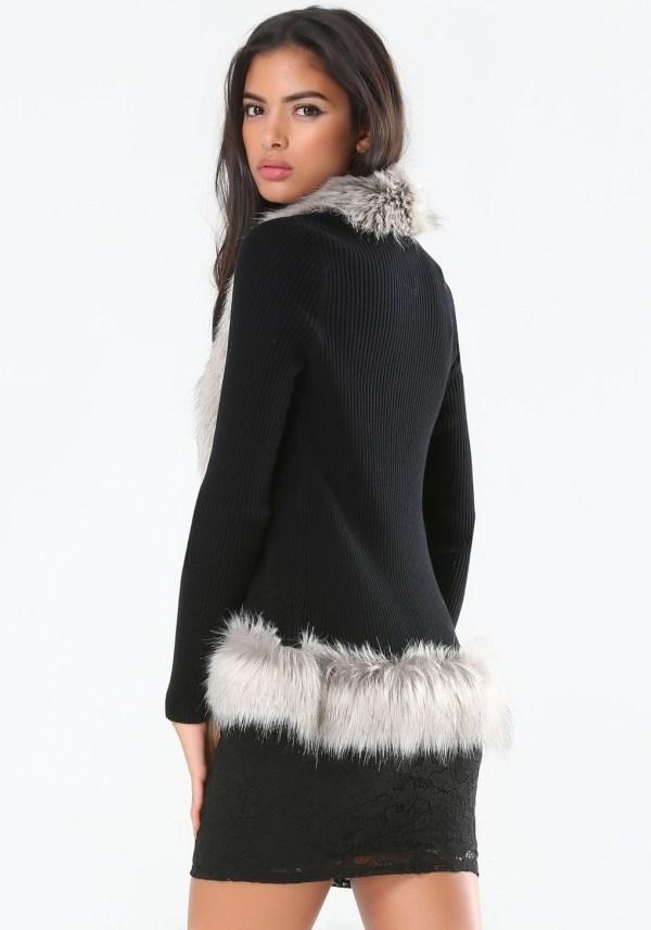 Faux Fur Trimmed Cardigan