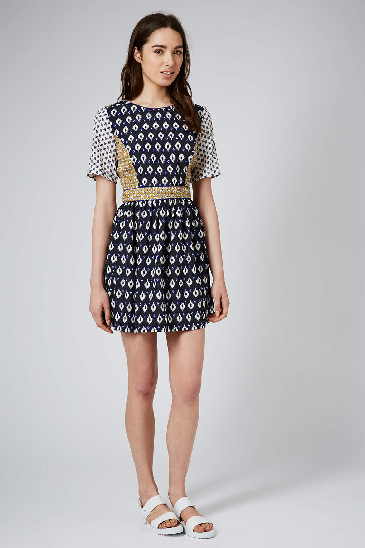 Lyst - Topshop Womens Mix Tile Print Tea Dress Navy Blue in Blue
