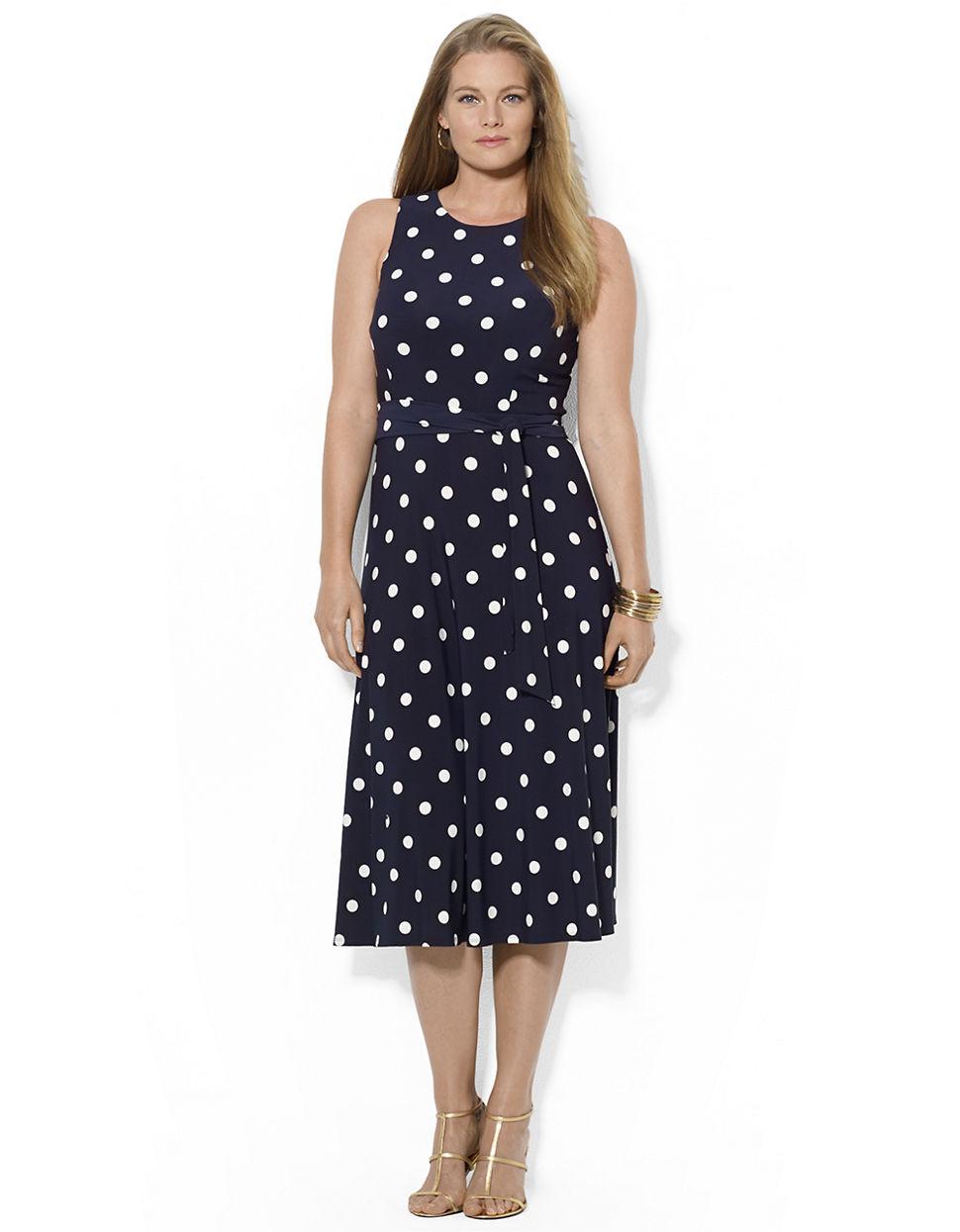 Lauren by Ralph Lauren PolkaDot CapSleeve Dress in Blue