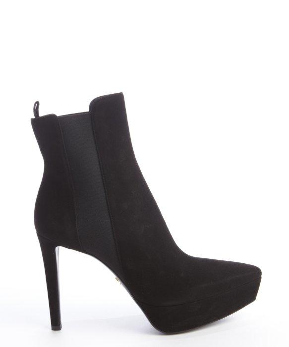 415af907af59 Prada Black Suede Platform Ankle Boots In Black Lyst