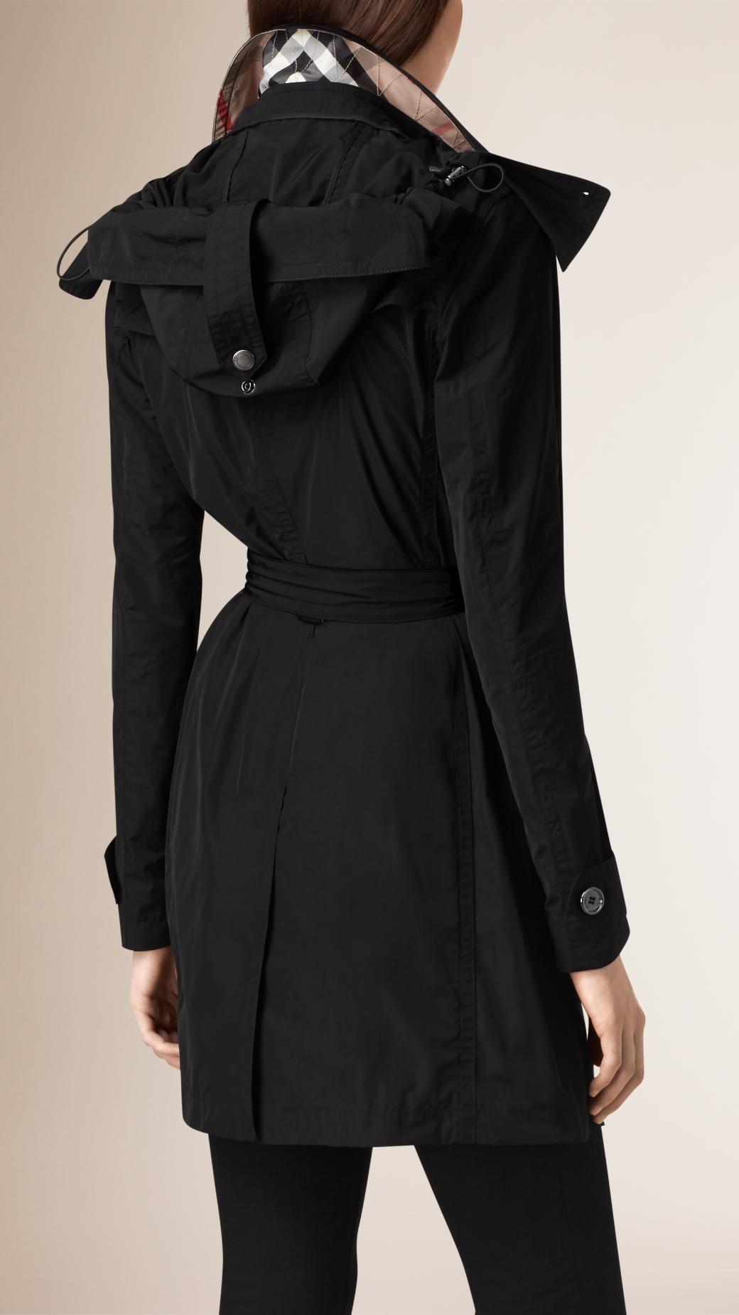 Lyst Burberry Hooded Taffeta Trench Coat In Black