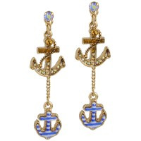 Betsey johnson Goldtone Crystal and Striped Nautical