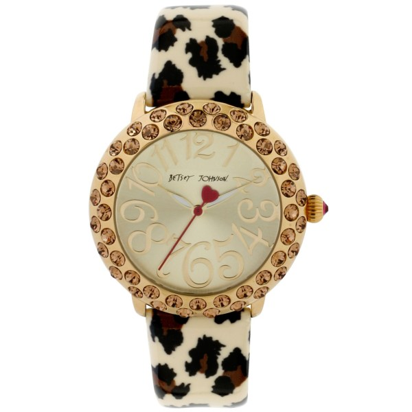 Betsey Johnson Leopard Printed Patent Leather Strap Watch
